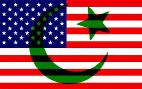American flag with Islamic synbols on it.