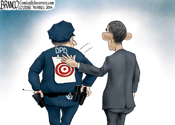 Cops-obama slaps bullseye on cops back